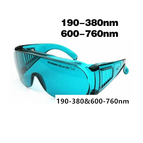 Laser safety goggles for 190-380nm & 600-760nm